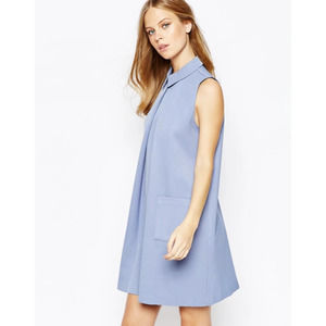 ASOS Lost Ink Pleat Aline Collared Shift Dress